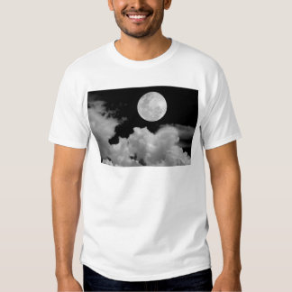 FULL MOON CLOUDS BLACK AND WHITE TEE SHIRTS