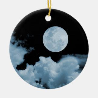 FULL MOON & CLOUDS BLACK & BLUE ROUND CERAMIC DECORATION