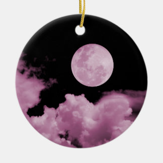 FULL MOON & CLOUDS BLACK & PINK ROUND CERAMIC DECORATION