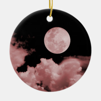 FULL MOON & CLOUDS BLACK & RED CHRISTMAS ORNAMENT