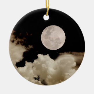 FULL MOON & CLOUDS BLACK & SEPIA CHRISTMAS ORNAMENT