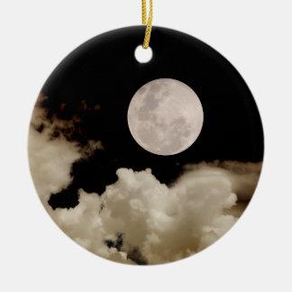 FULL MOON & CLOUDS BLACK & SEPIA ROUND CERAMIC DECORATION