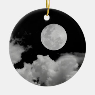 FULL MOON & CLOUDS BLACK & WHITE CHRISTMAS ORNAMENT