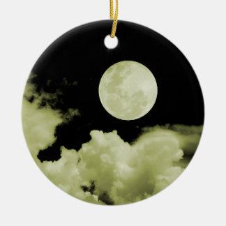 FULL MOON & CLOUDS BLACK & YELLOW ROUND CERAMIC DECORATION