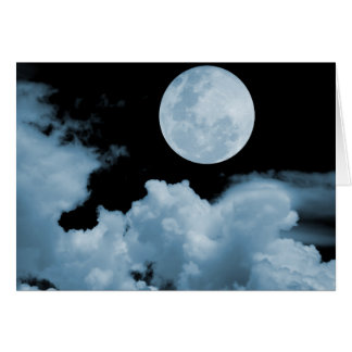 FULL MOON CLOUDS BLUE GREETING CARD