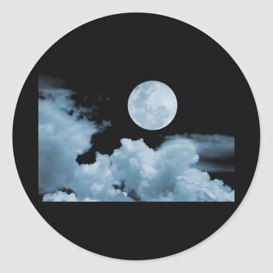 FULL MOON CLOUDS BLUE CLASSIC ROUND STICKER
