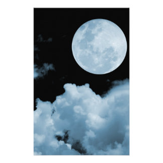 FULL MOON CLOUDS BLUE CUSTOM STATIONERY