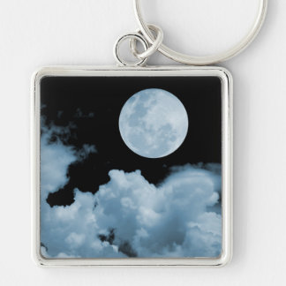 FULL MOON CLOUDS BLUE Silver-Colored SQUARE KEY RING