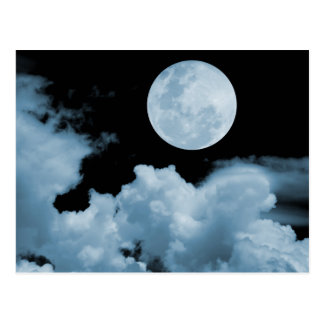 FULL MOON CLOUDS BLUE POSTCARD