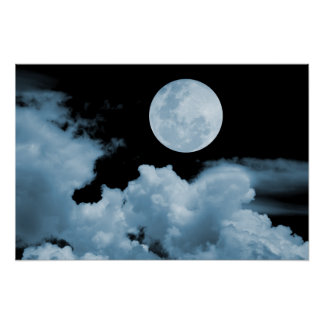 FULL MOON CLOUDS BLUE POSTERS
