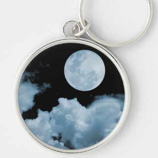 FULL MOON CLOUDS BLUE Silver-Colored ROUND KEY RING
