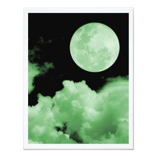 FULL MOON CLOUDS GREEN 11 CM X 14 CM INVITATION CARD
