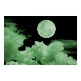 FULL MOON CLOUDS GREEN POSTER