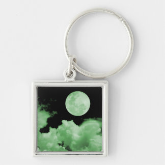 FULL MOON CLOUDS GREEN Silver-Colored SQUARE KEY RING