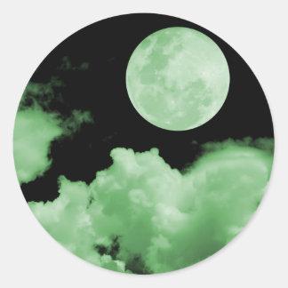 FULL MOON CLOUDS GREEN ROUND STICKER