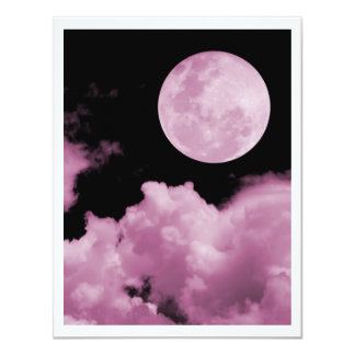 FULL MOON CLOUDS PINK PERSONALIZED INVITES