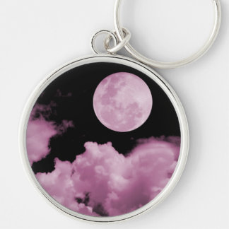 FULL MOON CLOUDS PINK Silver-Colored ROUND KEY RING