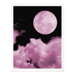 FULL MOON CLOUDS PINK PERSONALIZED INVITE