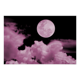 FULL MOON CLOUDS PINK POSTER