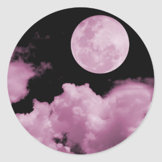 FULL MOON CLOUDS PINK ROUND STICKER