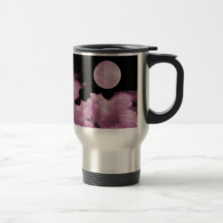 FULL MOON CLOUDS PINK STAINLESS STEEL TRAVEL MUG