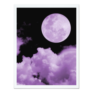FULL MOON CLOUDS PURPLE 11 CM X 14 CM INVITATION CARD