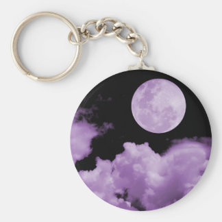 FULL MOON CLOUDS PURPLE BASIC ROUND BUTTON KEY RING