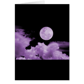 FULL MOON CLOUDS PURPLE GREETING CARD