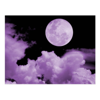 FULL MOON CLOUDS PURPLE POSTCARD