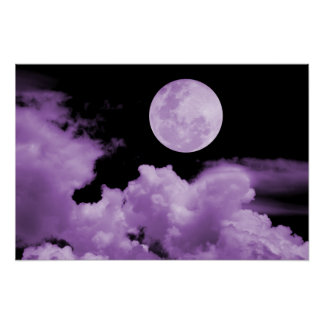 FULL MOON CLOUDS PURPLE POSTER