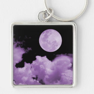 FULL MOON CLOUDS PURPLE Silver-Colored SQUARE KEY RING