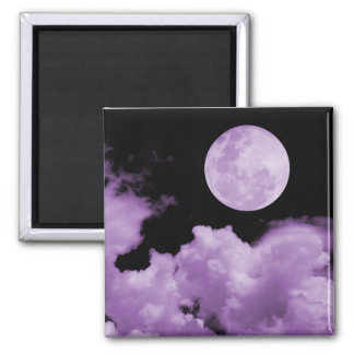 FULL MOON CLOUDS PURPLE SQUARE MAGNET