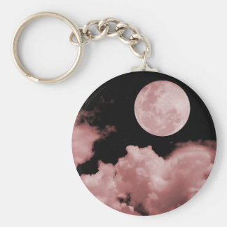 FULL MOON CLOUDS RED BASIC ROUND BUTTON KEY RING