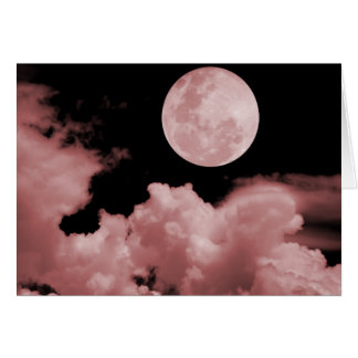 FULL MOON CLOUDS RED GREETING CARD