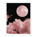 FULL MOON CLOUDS RED PERSONALIZED ANNOUNCEMENT