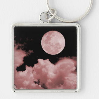 FULL MOON CLOUDS RED Silver-Colored SQUARE KEY RING