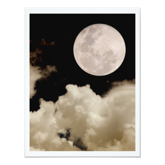 FULL MOON CLOUDS SEPIA 11 CM X 14 CM INVITATION CARD