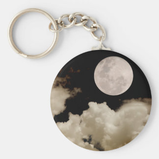 FULL MOON CLOUDS SEPIA BASIC ROUND BUTTON KEY RING