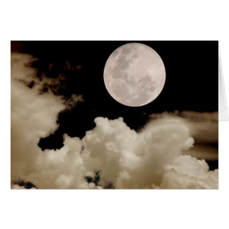 FULL MOON CLOUDS SEPIA GREETING CARD