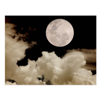 FULL MOON CLOUDS SEPIA POSTCARD