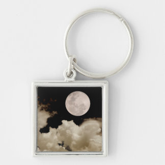 FULL MOON CLOUDS SEPIA Silver-Colored SQUARE KEY RING
