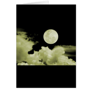 FULL MOON CLOUDS YELLOW GREETING CARD