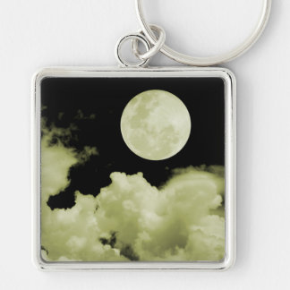 FULL MOON CLOUDS YELLOW Silver-Colored SQUARE KEY RING