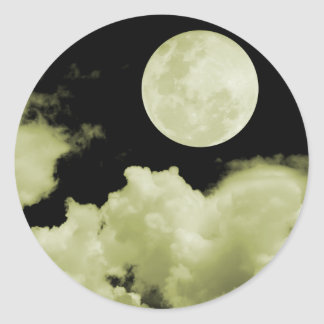 FULL MOON CLOUDS YELLOW ROUND STICKER
