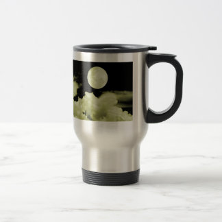 FULL MOON CLOUDS YELLOW STAINLESS STEEL TRAVEL MUG