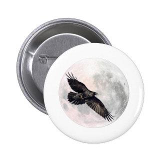 Full Moon Crow 6 Cm Round Badge