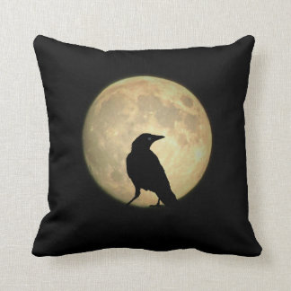 Full Moon Crow Throw Pillow