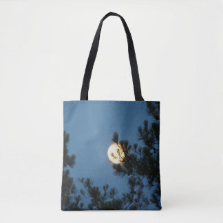 Full Moon Decorated Tote Bag