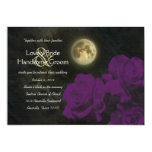 Full Moon Deep Purple Ghost Roses Wedding 5x7 Paper Invitation Card