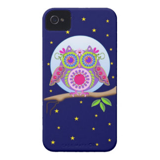 Full Moon Flower power Owl iPhone 4 case